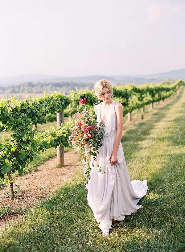 bride in vineyard