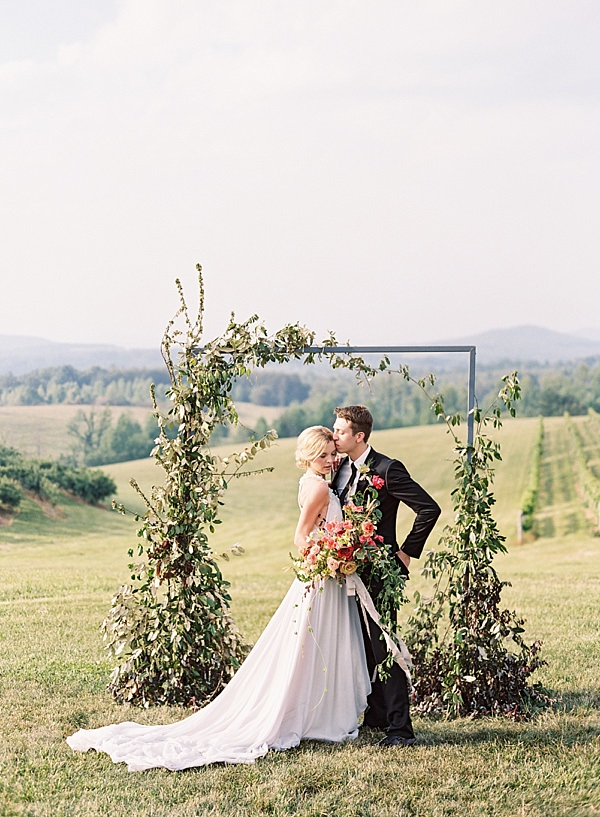 bride and groom at ceremony site