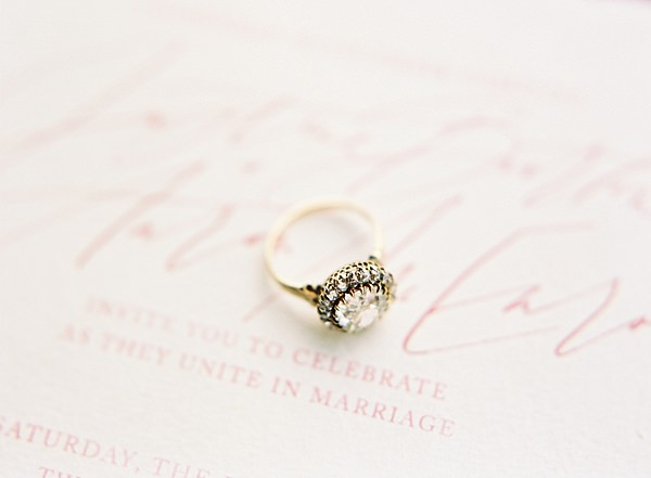 engagement ring on stationery