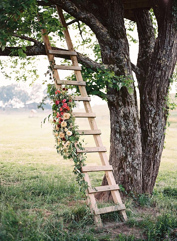 treehouse ladder with florals