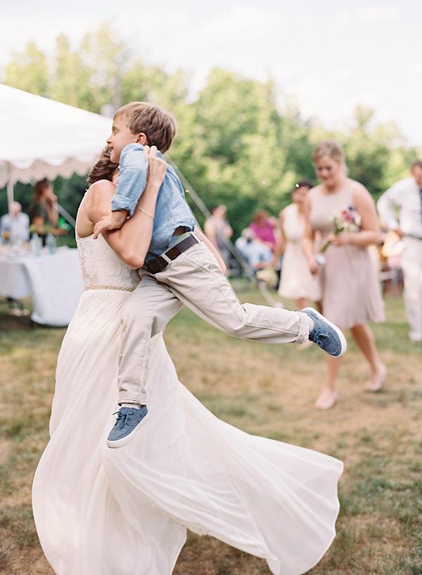 bride's ceremony exit with son