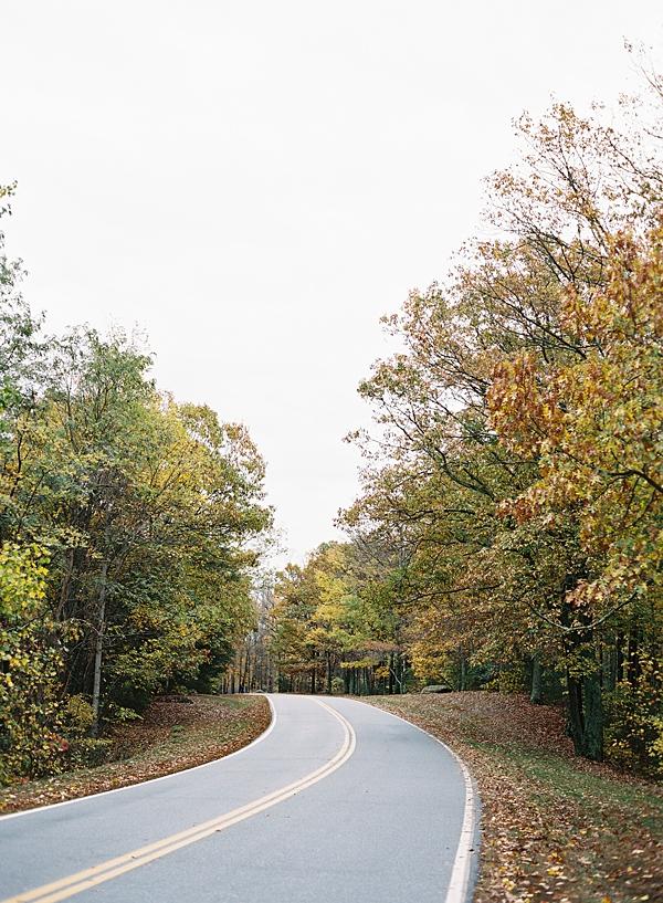 winding mountain road in fall