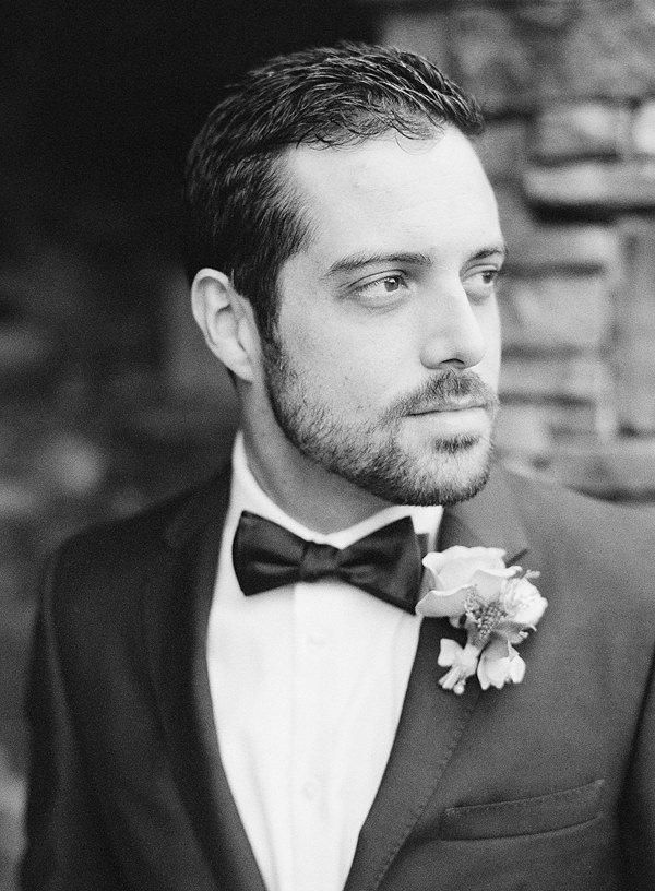groom on black and white film
