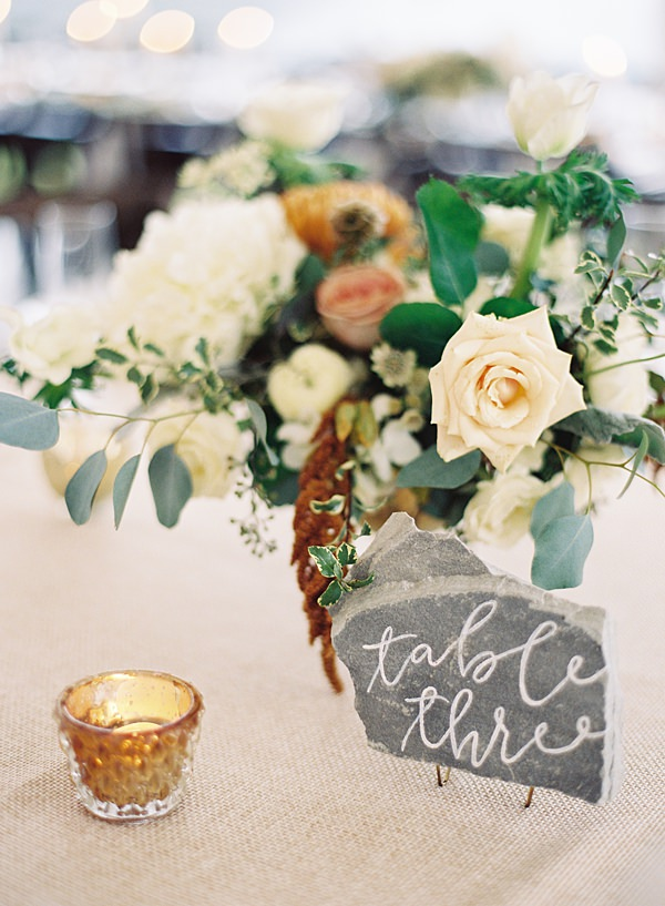 calligraphed stone table numbers