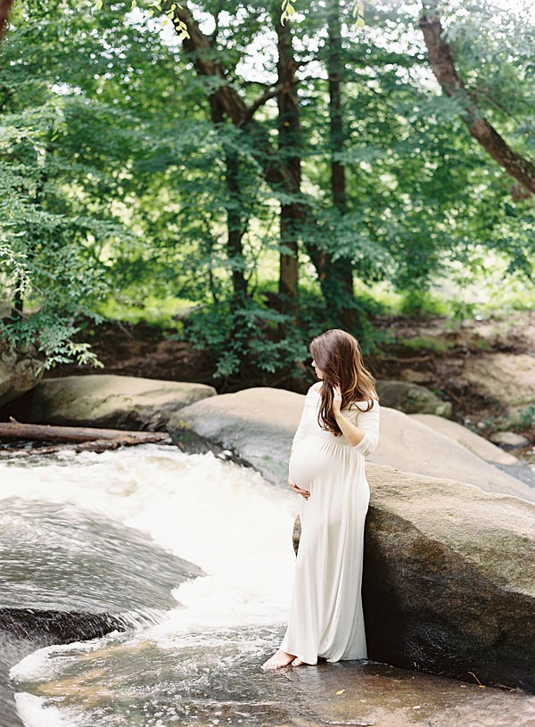 woodland stream maternity session