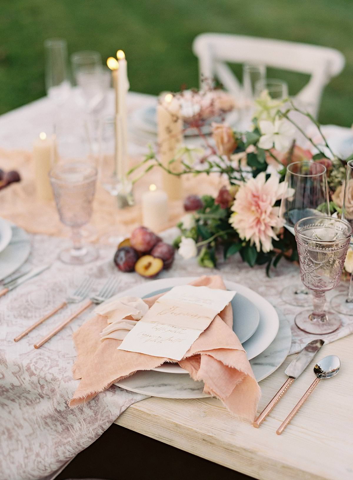 colorful reception table