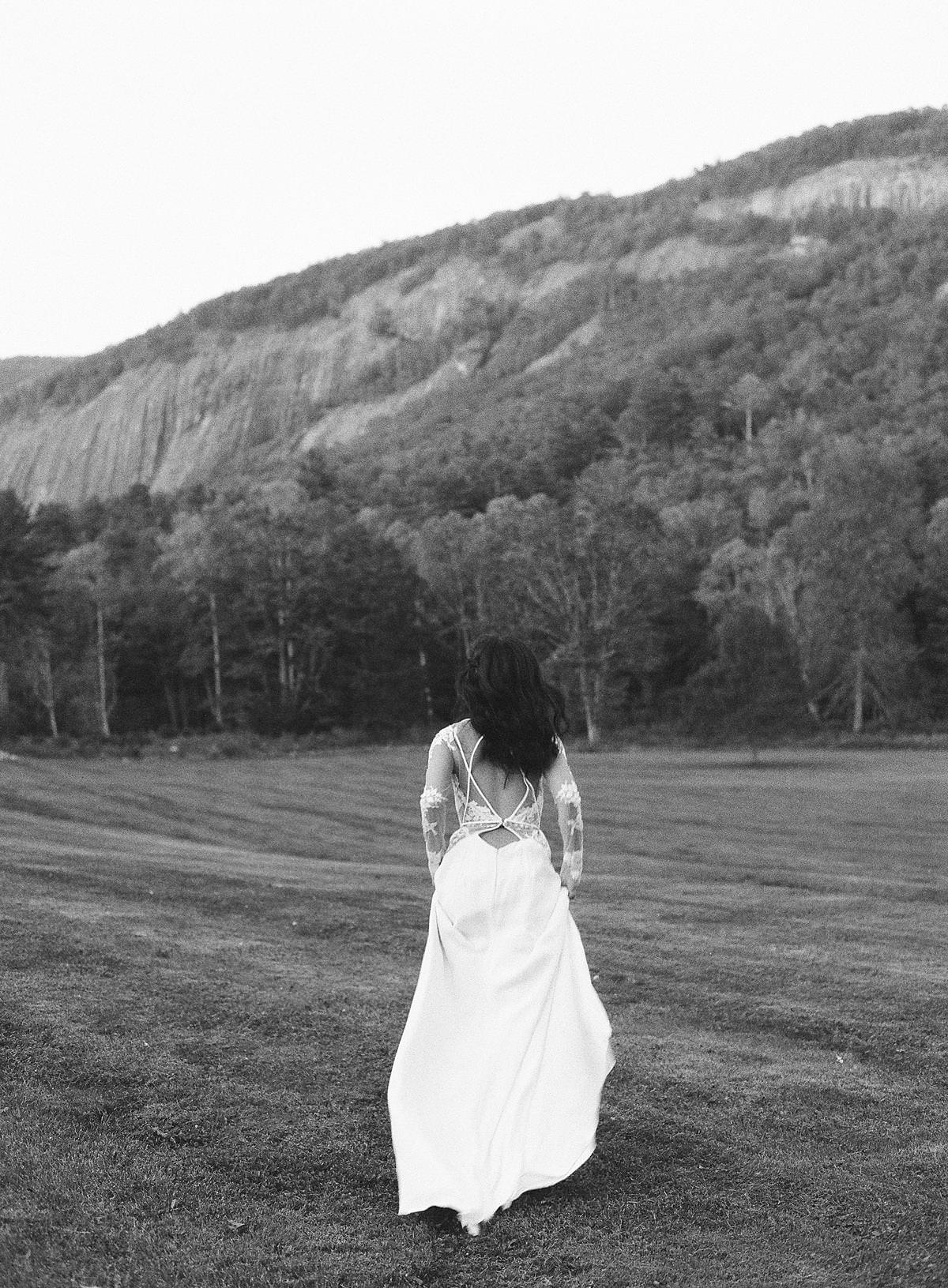 bride running in mountains