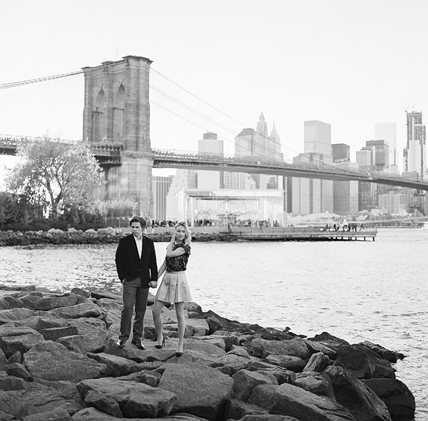 black and white nyc engagement