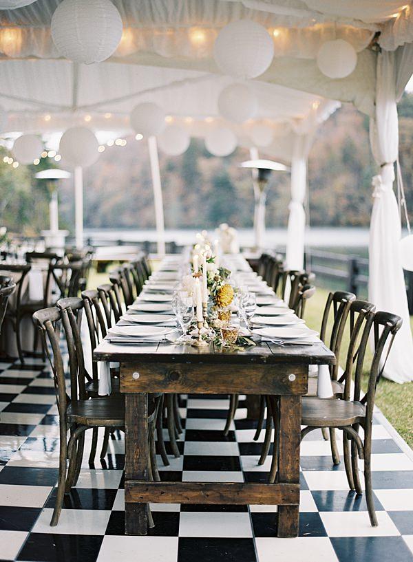 checkered floor reception