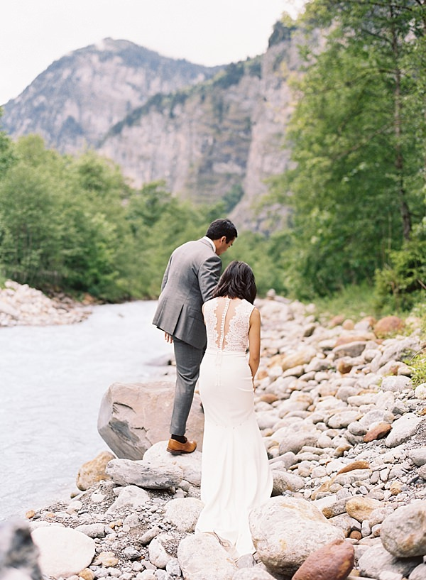 wedding along alps river