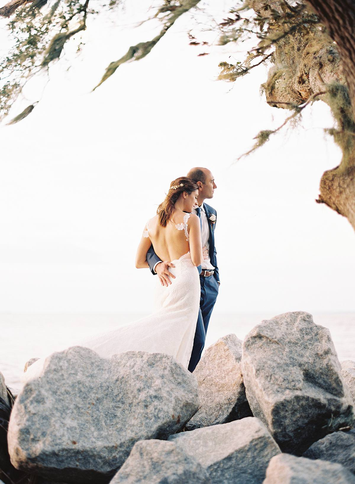 coastal wedding portraits on film