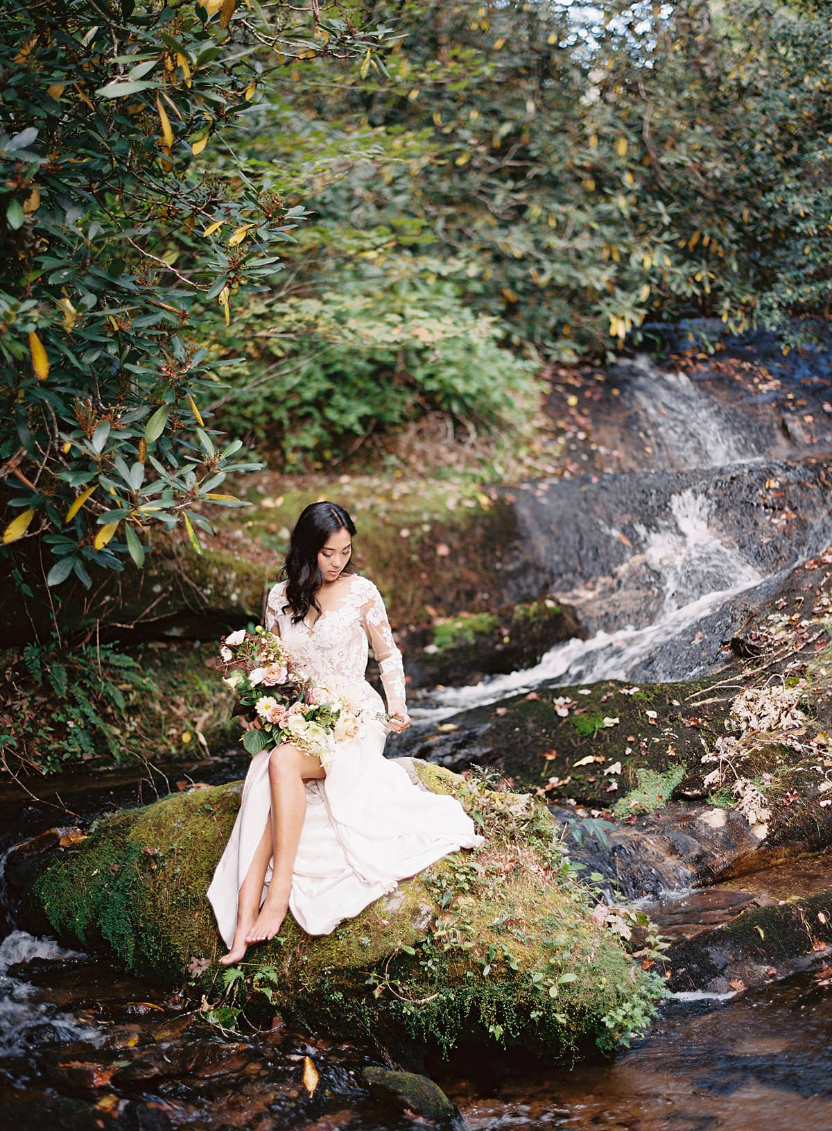 woodland stream bridal session