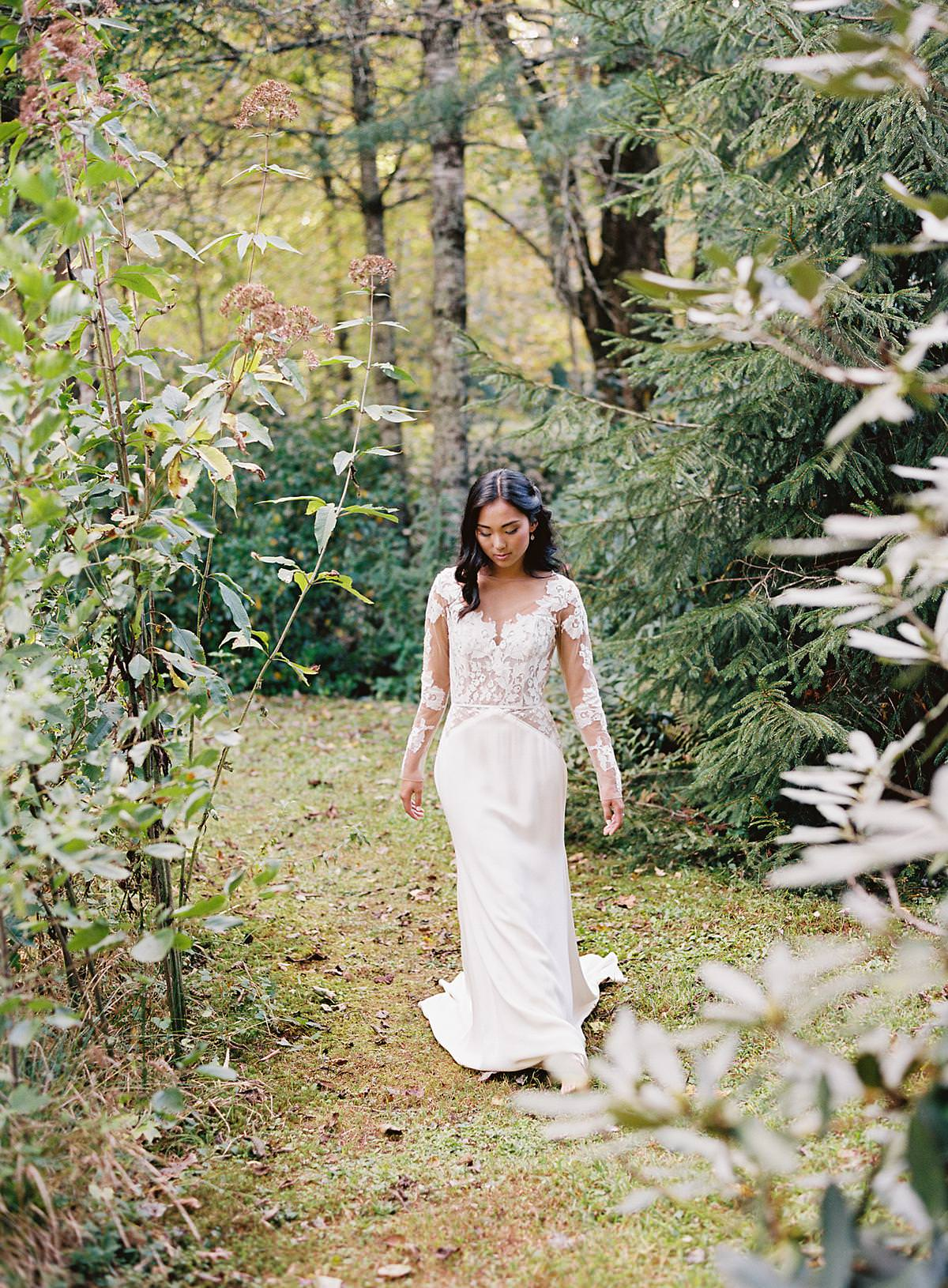 bride amidst greenery