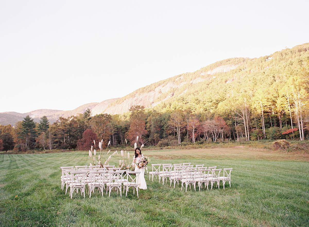 intimate mountain wedding ceremony