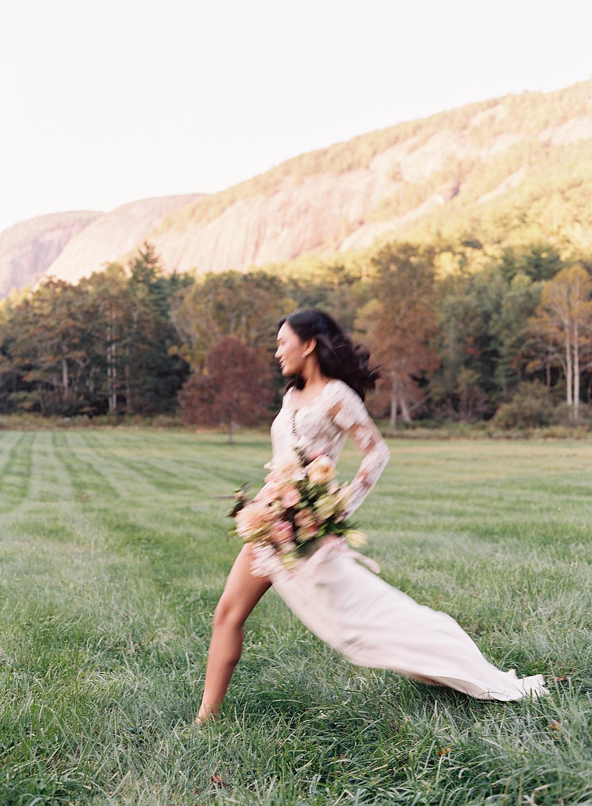 bride running on film