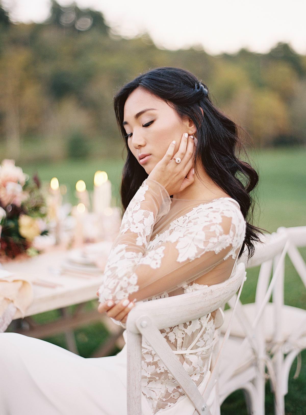bride at reception dinner
