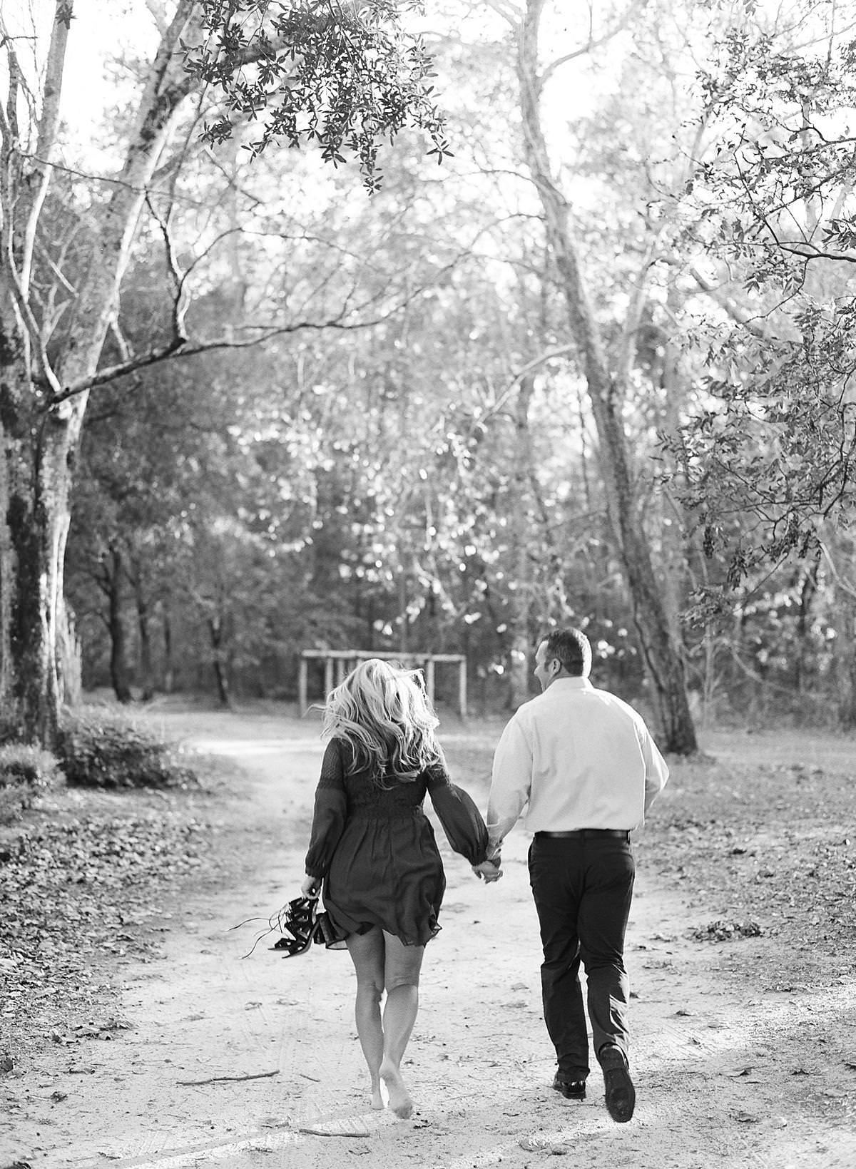 black and white film engagement session